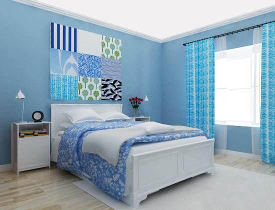 把窗帘换成淡蓝色碎花,和碎花床品的搭配十分和谐,挂上帷帐,让